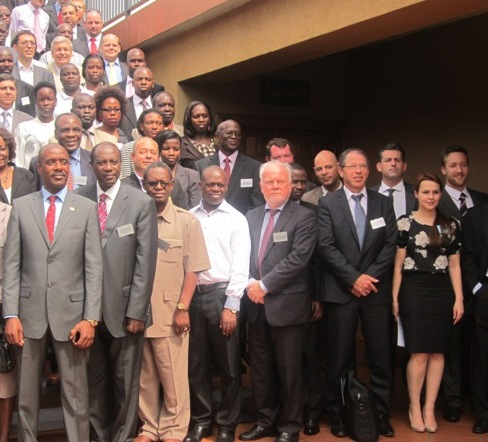 Delegates at the COMESA Oil and Gas Summit in Kampala. Front row (L-R): Uganda's junior Economic Monitoring Minister, Ezra Banyenzaki; Tullow Uganda President, Elly Karuhanga; and Uganda Industrial Research Institute Head, Dr. Charles Kwesiga. Fifth right is Norwegian Ambassador, Thorbjorn Gaustadsaether.