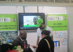 The Nigeria Stall at the EITI exhibition in Sydney. Nigeria has recovered two billion dollars of mismanaged funds as a result of EITI.