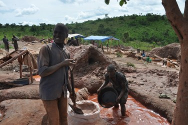 An artisanal mining operation in Mubende District. Although a bigger part of Uganda's mining industry is artisanal