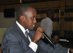 Youth MP Gerald Karuhanga at the conference