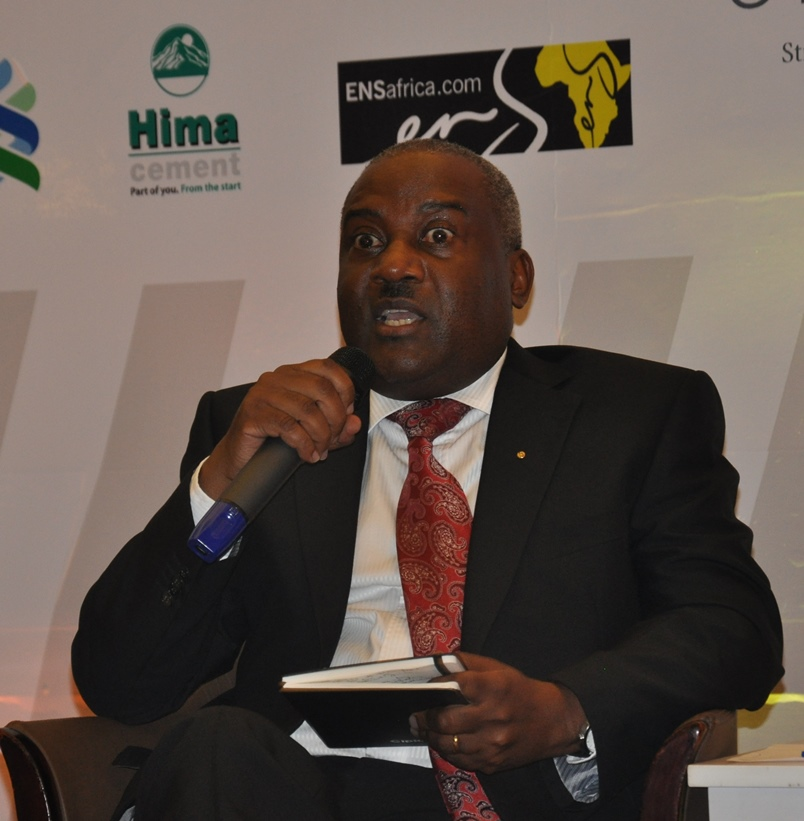 Newly-appointed Chairman of the National Oil Company, Emmanuel Katongole stresses a point at the conference. (Photo: Beatrice Ongode)