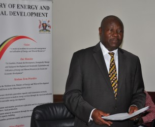 Energy Ministry Permanent Secretary, Kabagambe Kaliisa at the launch of the licensing round in Kampala. (Photo: F. Nalubega)