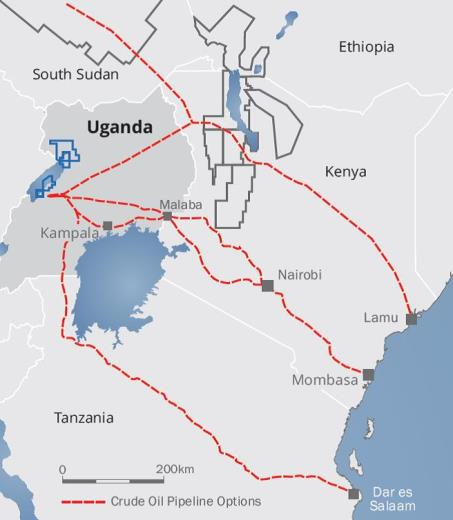 Graphic: oilprice.com  The southern route being considered in fact terminates at Tanga port, near Tanzania´s border with Kenya, not at Dar es Salaam as shown here.