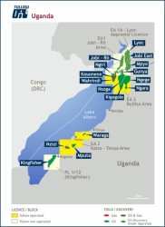 A map showing exploration blocks in Albertine graben - Photo from Tullow uganda page