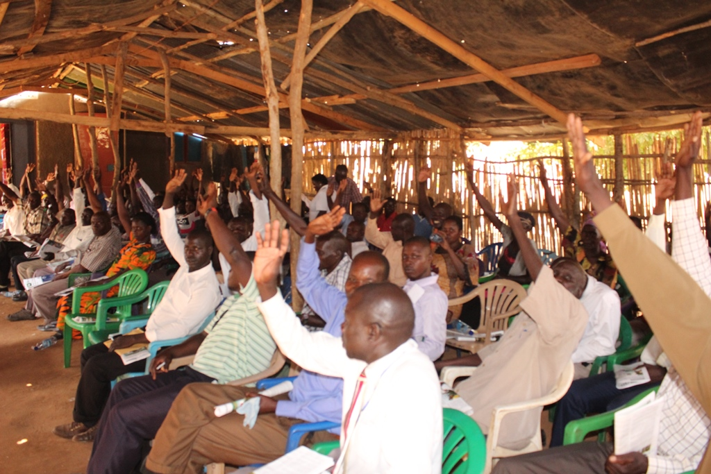 Ngwedo sub-county leaders voting on a compensation process for their properties during oil developments